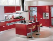 The kitchen in the red color