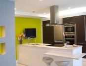 The design soft green color in the interior