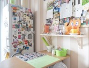 Sweet and Girlish Apartment of a Postcrossing Fan: Wall-Length Bookstand, Antique Oak Table and Brig...