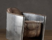 Aviator Swivel Chair with Leather Seat