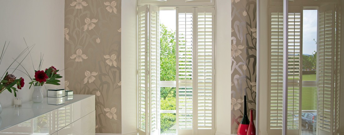 Postel wall and white Window Shutter