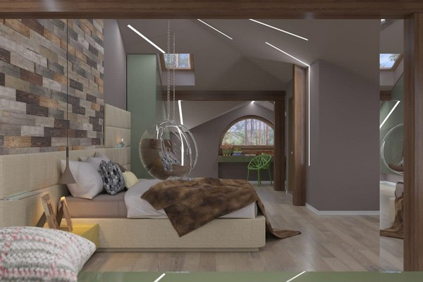 0-modern-naturalistic-eco-attic-interior-design-arch-shaped-window-wooden-pine-panels-textile-headboard-suspended-transparent-arm-chair-LED-lights-skylights