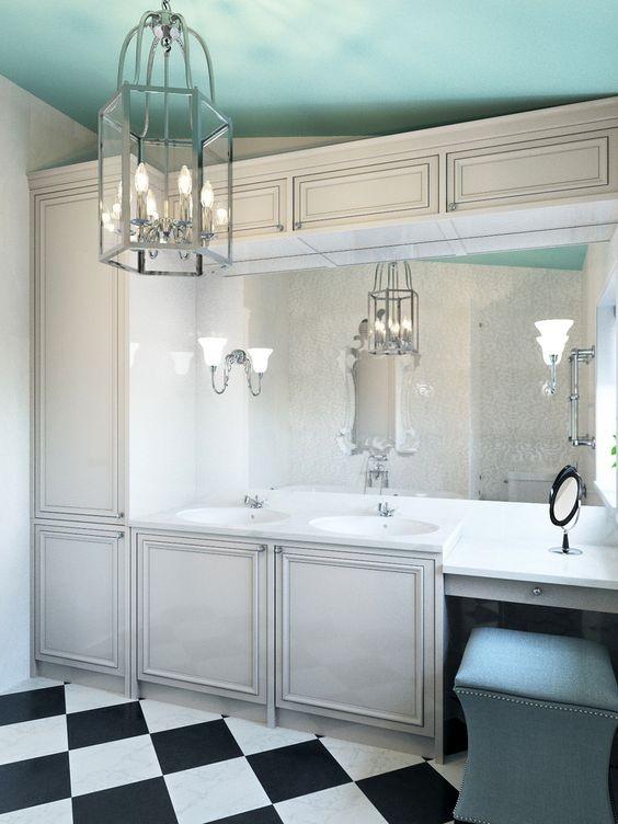 1-bathroom-interior-design-white-cabinets-black-and-white-floor-tiles-sky-blue-ceiling