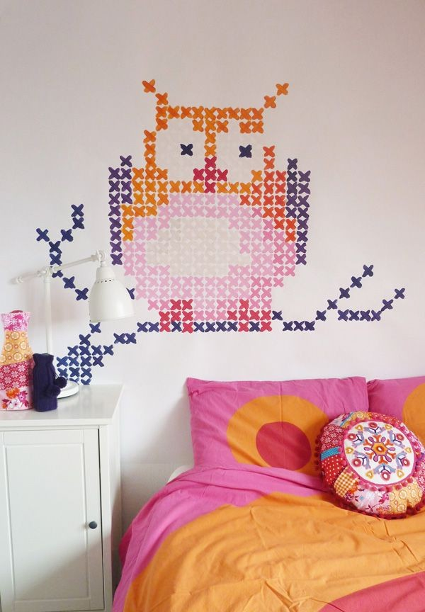 1-cross-stitch-pattern-in-interior-design-wall-painting-decor-owl-on-the-branch-toddler-kid's-bedroom