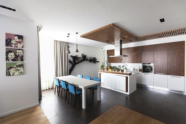 1-minimalist-style-interior-white-kitchen-wood-ceiling-decor-kitchen-island-blue-chairs