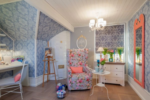 1-provence-gustavian-style-work-room-workshop-grayish-blue-walls-white-wooden-ceiling-wall-decor-swedish-tiled-stove-roman-curtains
