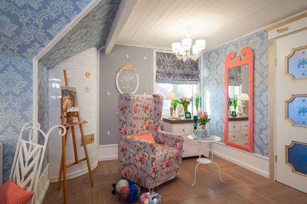 11-0-provence-gustavian-style-work-room-workshop-grayish-blue-walls-white-wooden-ceiling-wall-decor-swedish-stove-aisel-roman-blinds-cozy-arm-chair-forged-chair-coffee-table