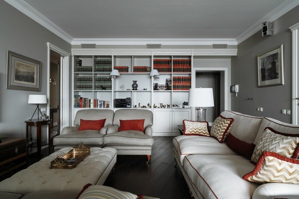 11-English-interior-style-living-room-white-sofas-couch-pillows-book-shelves-lamps-ottoman (2)