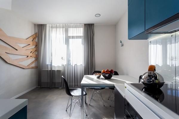 11-modern-ascetic-interior-kitchen-blue-kitchen-set-white-walls-3d-wooden-geometrical-wall-panel