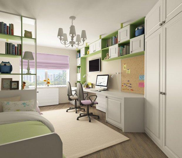 11-neutral-neo-classical-interior-kids-bedroom-boy-and-girl-white-light-green-lilac-zones