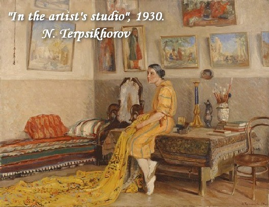 14-bentwood-chair-in-old-interior-soviet-painting-in-the-artist's-studio