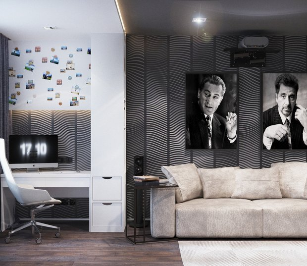 14-gray-beige-brown-interior-for-man-home-cinema-work-space-sofa-movie-posters-on-the-wall