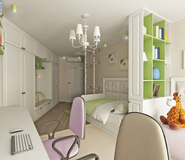 14-neutral-neo-classical-interior-kids-bedroom-boy-and-girl-white-light-green-lilac-zones