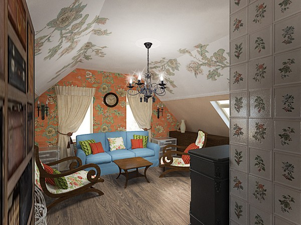 14-orange-white-green-color-floral-pattern-russian-provence-attic-floor-interior-design-tiled-chimney-latex-digital-printing-on-walls-and-ceiling-blue-sofa-beige-curtains