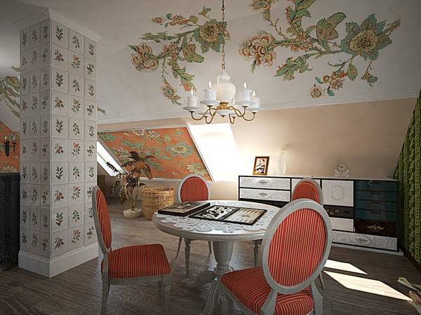 16-orange-white-green-color-floral-pattern-russian-provence-attic-floor-interior-design-tiled-chimney-latex-digital-printing-on-walls-and-ceiling-retro-hand-made-designer-chandelier-chest-of-drawers