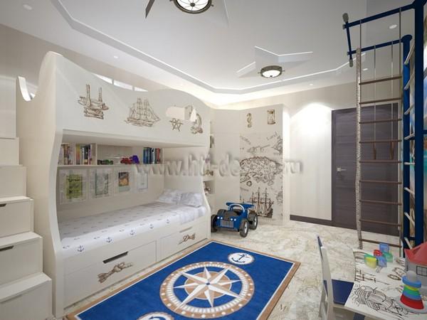 18-tortora-dove-gray-interior-kid's-boy's-bedroom-in-marine-style-cork-floor-digital-photo-printing