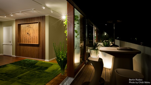 2-bachelor-pad-interior-modern-style-entrance-hall-terrace-exit-walnut-wall-big-designer-clock-track-lights-futuristic-outdoor-furniture