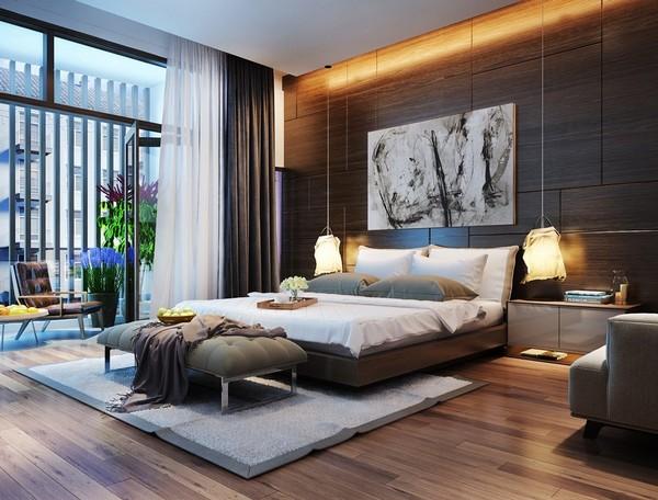 2-bedroom-lighting-textile-lamps-dark-brown-walls
