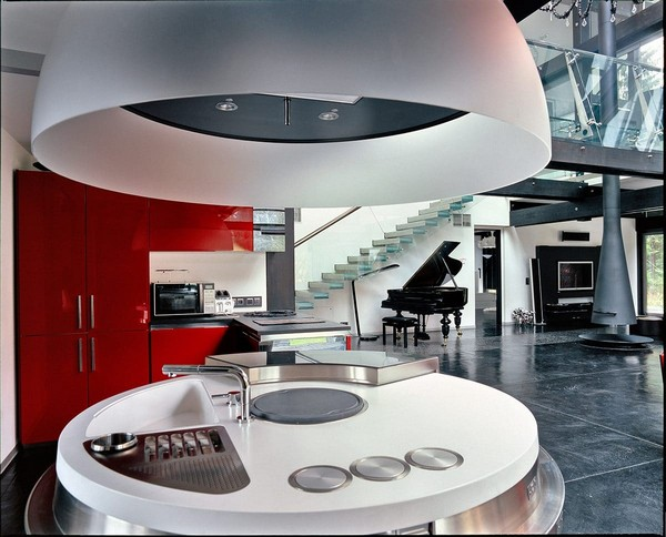 2-open-plan-concept-kitchen-living-room-unusual-round-ball-shaped-kitchen-island-red-kitchen-set-console-staircase