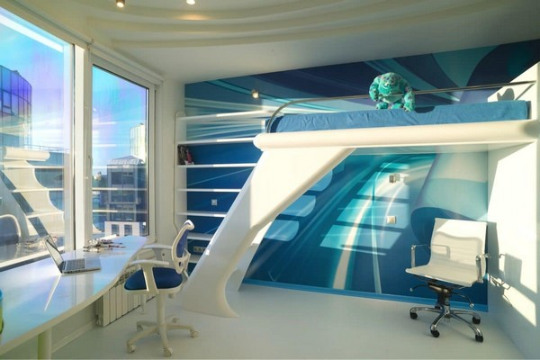 3-3-white-and-blue-glossy-futuristic-style-interior-design-panoramic-windows-self-levelling-floor-kid's-toddler-room-loft-bed