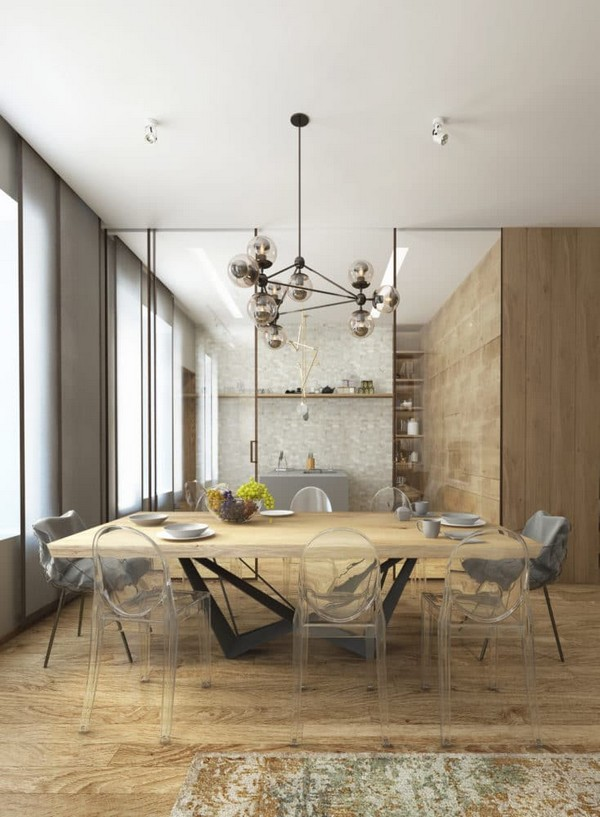 3-cozy-minimalist-dining-room-transparent-chairs-metal-table-underframe-catellan-italia-oak-table-pina-low-chairs-louis-ghost