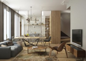 4-cozy-minimalist-living-room-transparent-chairs-catellan-italia-oak-table-pina-low-chairs-louis-ghost-stealth-kitchen-bonaldo-sofa-draenert-table-carl-hansen