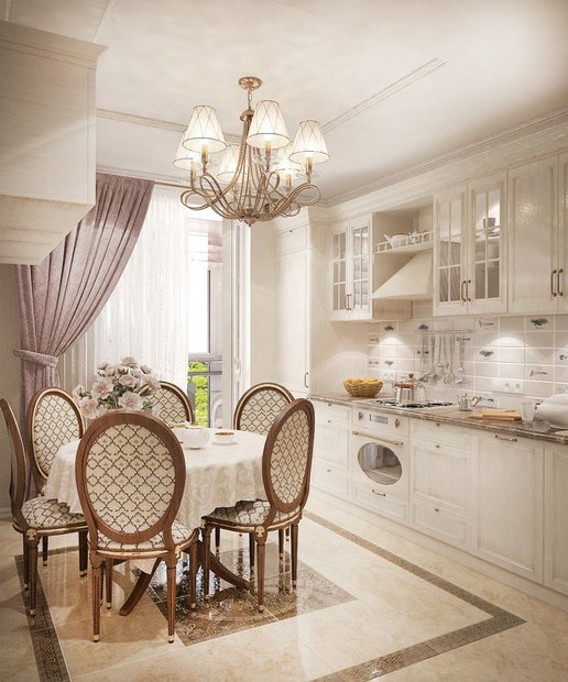 4-neo-classical-style-pastel-white-kitchen-dining-zone-golden-patina