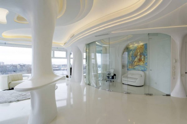 5-1--total-white-glossy-futuristic-style-interior-design-panoramic-windows-self-levelling-floor-columns-glass-interior-wall-partition-work-room-3D-ceiling