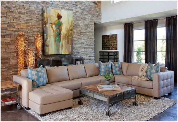5-decorative-couch-pillows-in-living-room-interior-design-beige-and-blue-painting