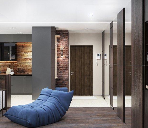 5-gray-beige-brown-interior-for-man-hallway-blue-frameless-arm-chair