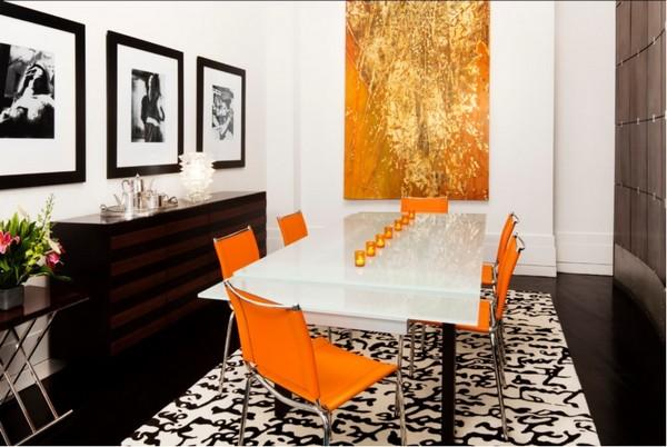 5-orange-color-in-black-and-white-dining-room-interior-design