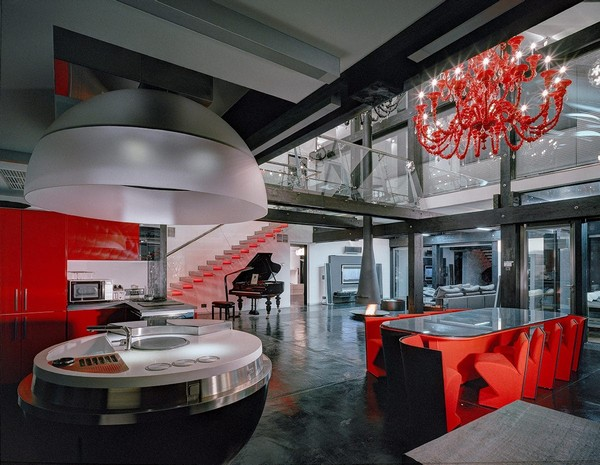 5-unusual-glass-house-panoramic-windows-open-plan-concept-kitchen-living-room-unusual-round-ball-shaped-kitchen-island-red-dining-table-kitchen-set-chandelier-console-staircase