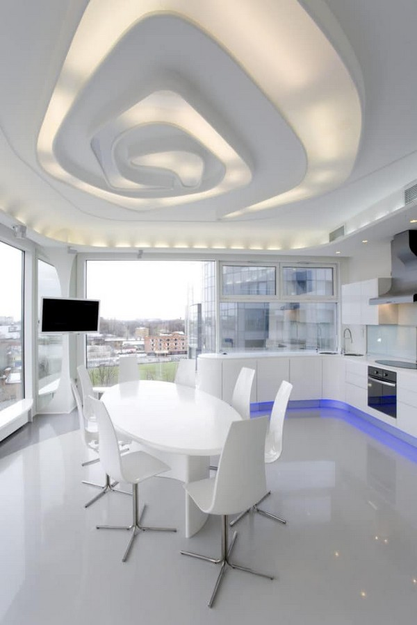 6-1-total-white-glossy-futuristic-style-interior-design-panoramic-windows-self-levelling-floor-3D-ceiling-kitchen-dining-room-corian-table
