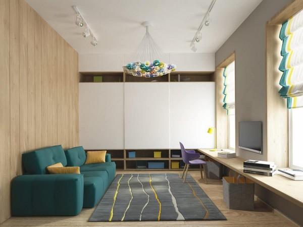 6-cozy-minimalist-playroom-toddler-room-boconcept-sofa-couch-bocci-chandelier-stripy-roman-blinds