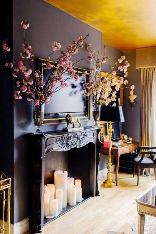 6-non-white-painted-colorful-yellow-ceiling-in-the-living-room-dark-purple-walls-fireplace