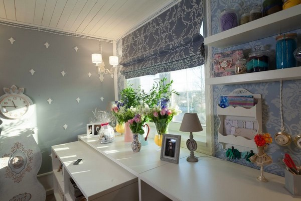 7-1-provence-gustavian-style-work-room-workshop-grayish-blue-walls-white-wooden-ceiling-wall-decor-roman-blinds-mora-clock-replica