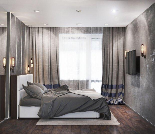 7-gray-beige-brown-interior-for-man-bedroom-plaster-walls