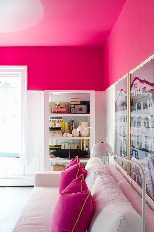 7-non-white-painted-colorful-pink-ceiling-in-the-white-living-room