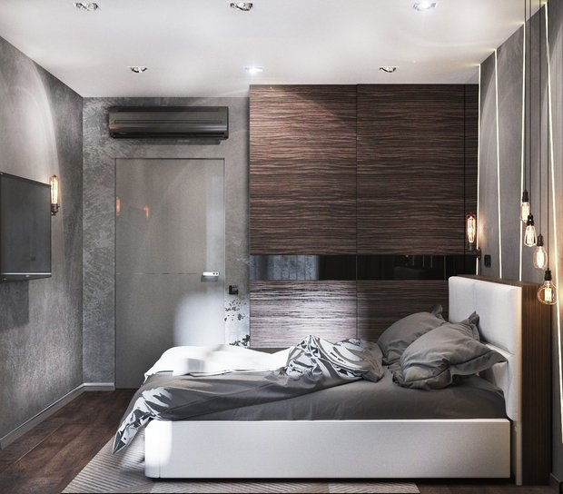 8-gray-beige-brown-interior-for-man-bedroom-laster-walls-shadeless-lamps
