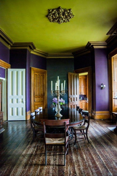 8-non-white-painted-colorful-green-ceiling-in-the-dining-room-bright-purple-walls-ceiling-medallion-tall-candlestick