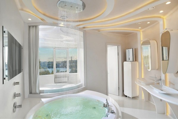 9-2--total-white-beige-pastel-glossy-futuristic-style-interior-design-panoramic-windows-self-levelling-floor-round-bathtub-bedroom-glass-bathroom-wall-partition