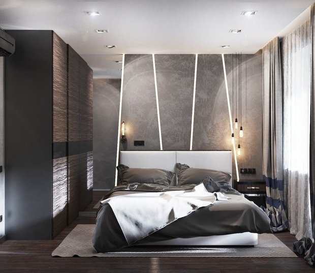 9-gray-beige-brown-interior-for-man-bedroom-LED-profiles-modern-lamps