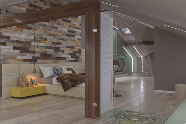 9-modern-naturalistic-eco-attic-interior-design-wooden-pine-panels-textile-headboard-suspended-transparent-arm-chair-LED-lights-skylights-glass-shower-cabin