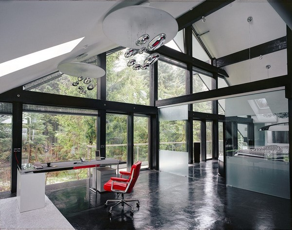 9-unusual-glass-house-panoramic-windows-open-plan-concept-home-office-bedroom-red-chair-hi-tech-lamps-chandelier