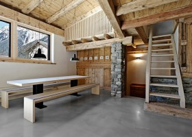 0-France-chalet-interior-design-Scandinavian-style-rough-wooden-beams-white-walls-stone-mountain-view-staircase-window