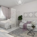 00-light-and-airy-pastel-white-and-lilac-interior-design-living-room-with-sleeping-place-bed-lattice-screen-divider-IKEA-sofa-glass-table-orchid-drapery-curtains-neo-classical-style
