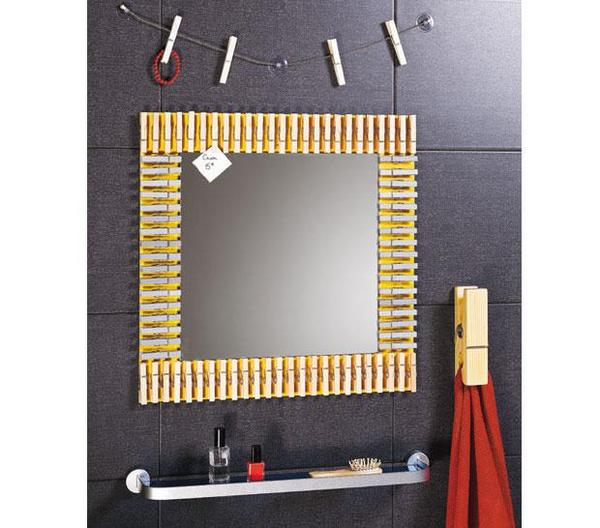 Decorated Mirror with Wooden Pegs
