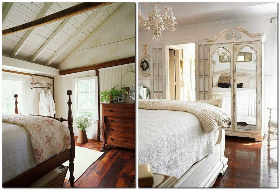 1-Provence-style-bedroom-interior-design-vintage-wardrobe-closet-wooden-bed-tall-legs-chest-of-drawers-ceiling-beams-aged-floor