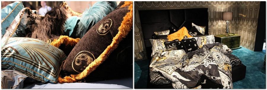 1-Trussardi-Home-Linen-and-Roberto Cavalli-home-textile-at-Maison-&-Objet-2017-exhibition-trade-fair-blue-orange-black-bed-linen-fur-pillows