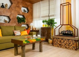 1-bright-green-yellow-brown-dining-living-room-interior-design-olive-sofa-linen-roman-blinds-3D-wooden-wall-decor-electric-fireplace